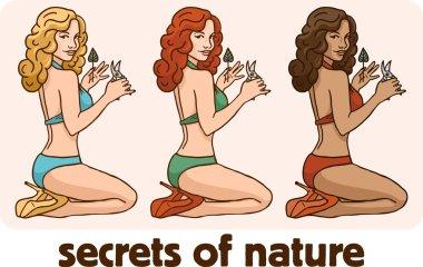 Pin up girl in a bikini set gardener