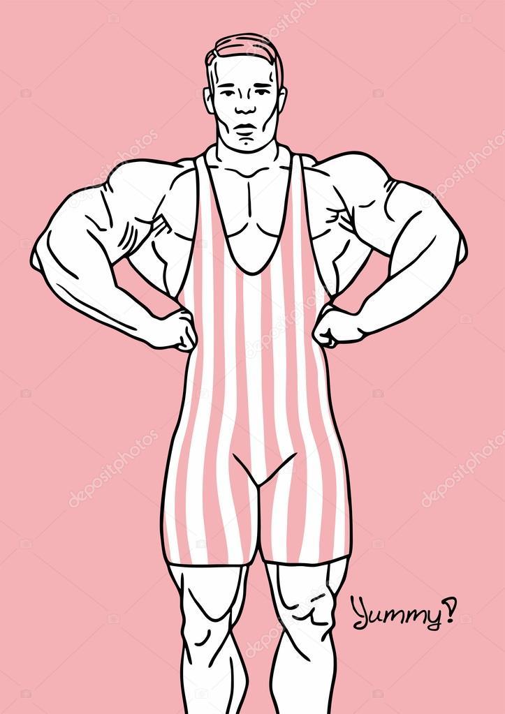 Güçlü Bir Adam Vücut Geliştirmeci Pembe Boyama Tek Parça Streç Giysi