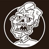 portrét štítku kruh rozzlobený zombie