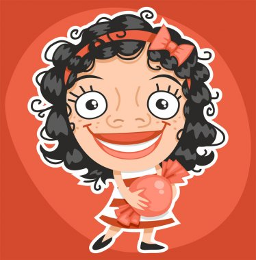 curly girl with candy Sticker
