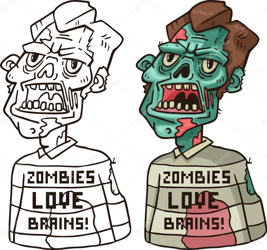 Retrato de un zombie enojado en un Jersey para colorear — Archivo ...