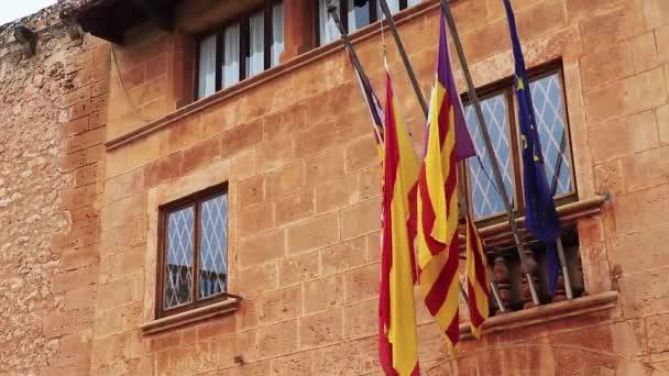 Mallorca Spanyolország és az EU zászlói Campos Mallorca Spanyolország.