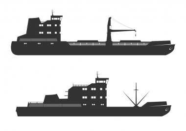 Ships silhouettes. Isolated on background