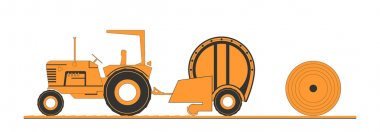 Farm tractor and round baler