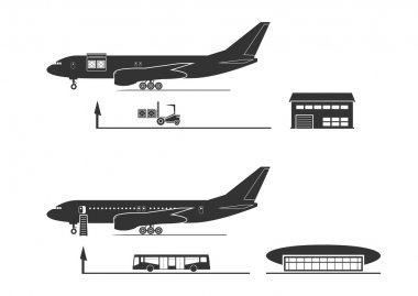 The process of loading and unloading of the aircraft. Vector illustration. stock vector