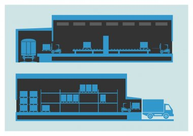 Warehouse. The unloading and loading process