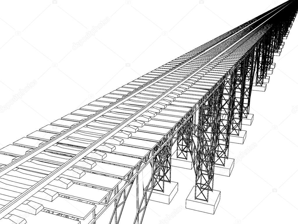Vector illustration of a bridge with metro