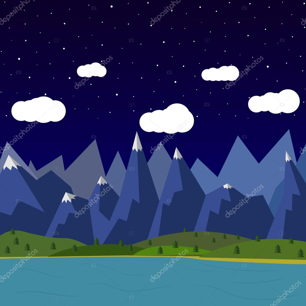 summer night landscape in the mountains