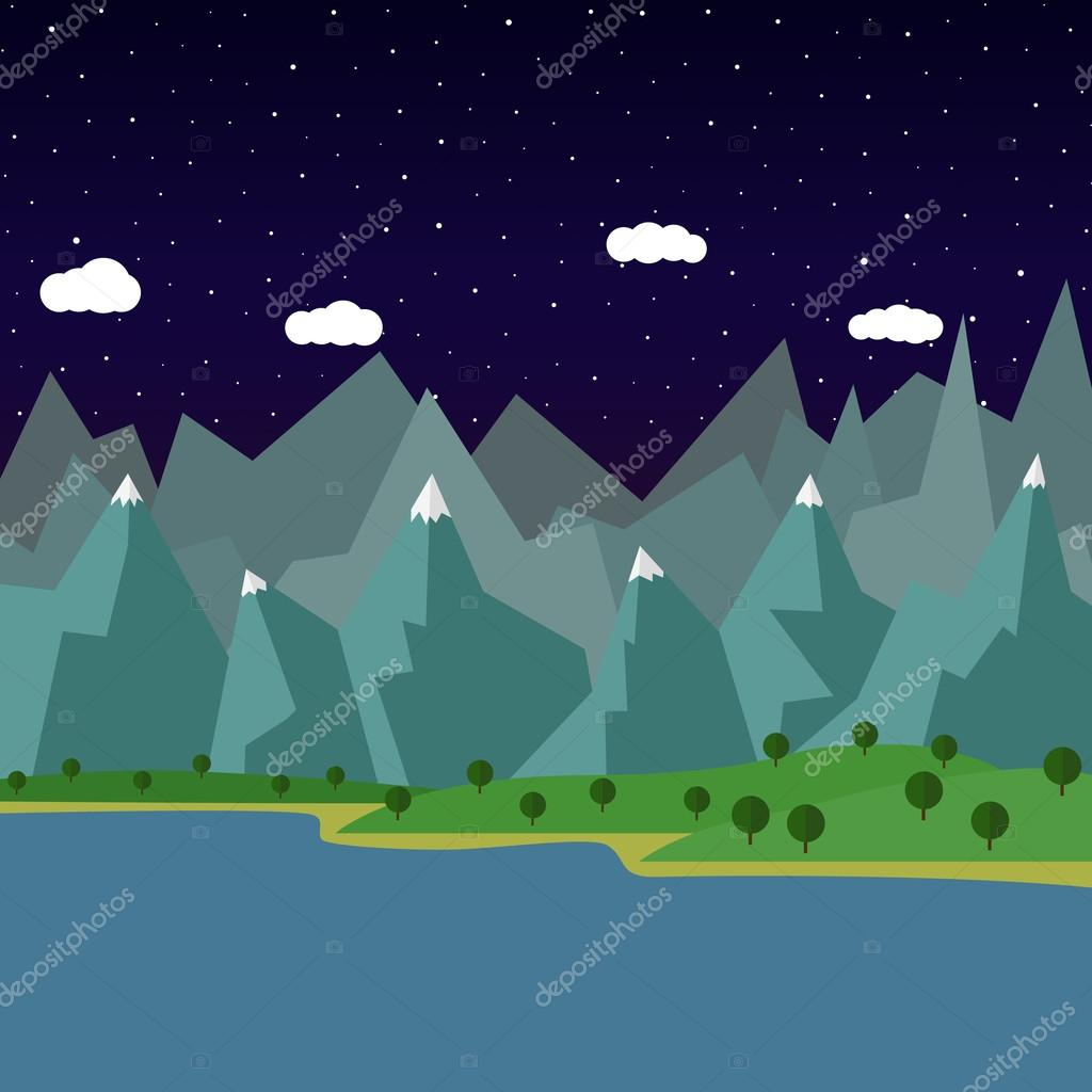 Фотообои summer night landscape in the mountains