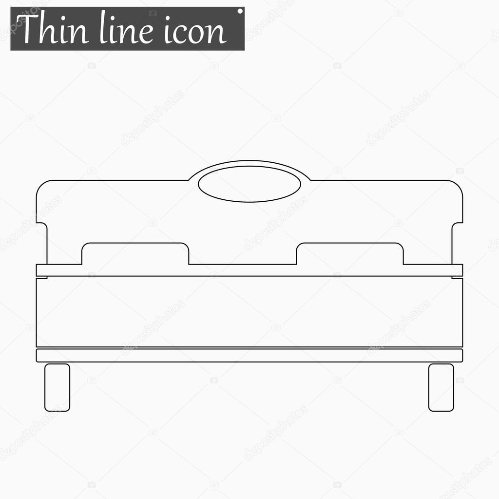 cama línea fina de estilo Vector icono — Vector de stock © zozu ...