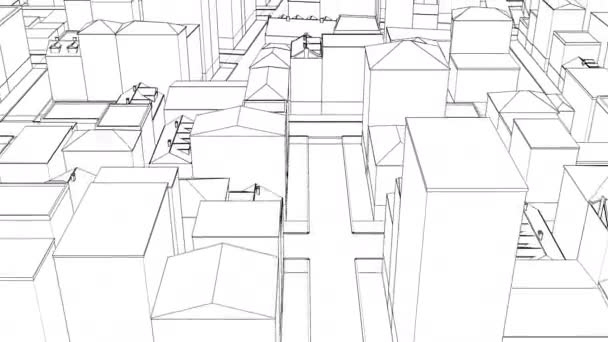 Thin Linear drawing city sketch town