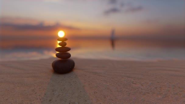 Sunset stones balance sea Zen garden Spiritual mind