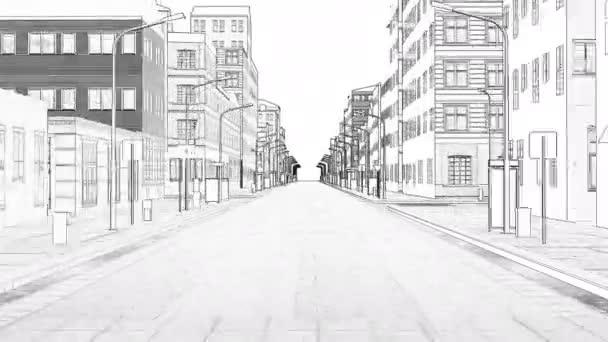 Absztrakt 3D rajz város Digitális illusztráció Cityscape City városkép