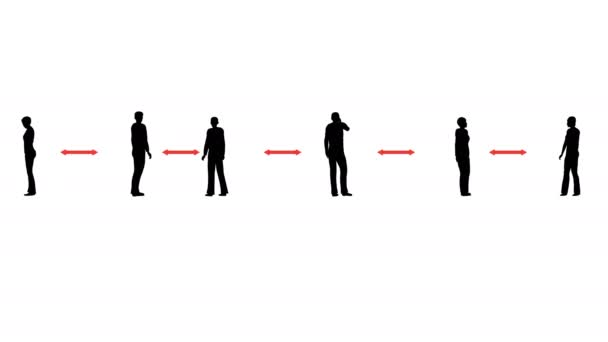 Silhouettes people keep distance 3d animation Social distance Corona virus. People line