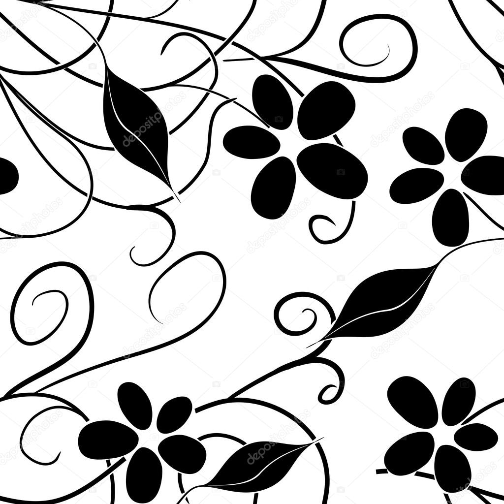 Black and white floral seamless pattern Vector 5