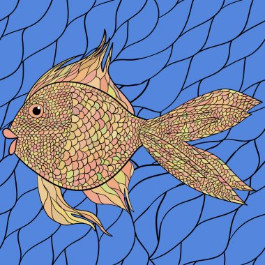 Seamlessly tiling fish pattern. Vector. 5