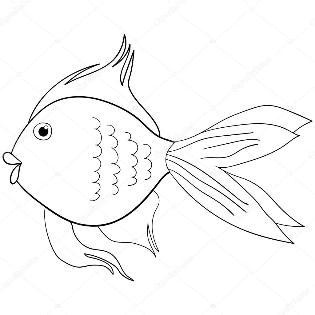 Seamlessly tiling fish pattern. Vector.