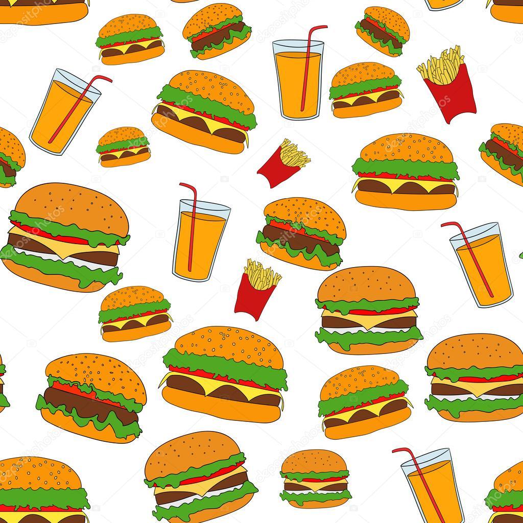 illustration of flat fast food pattern