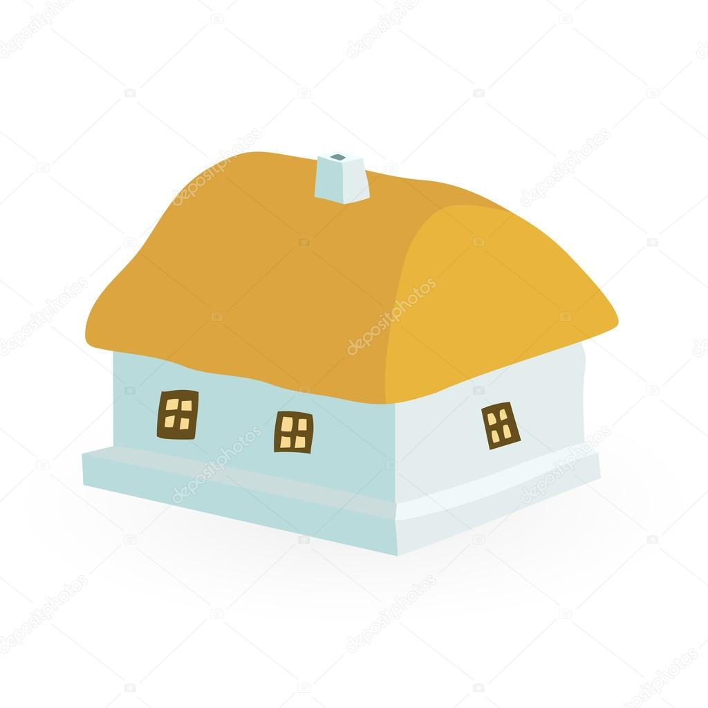 ancient farmhouse with a thatched roof vector i