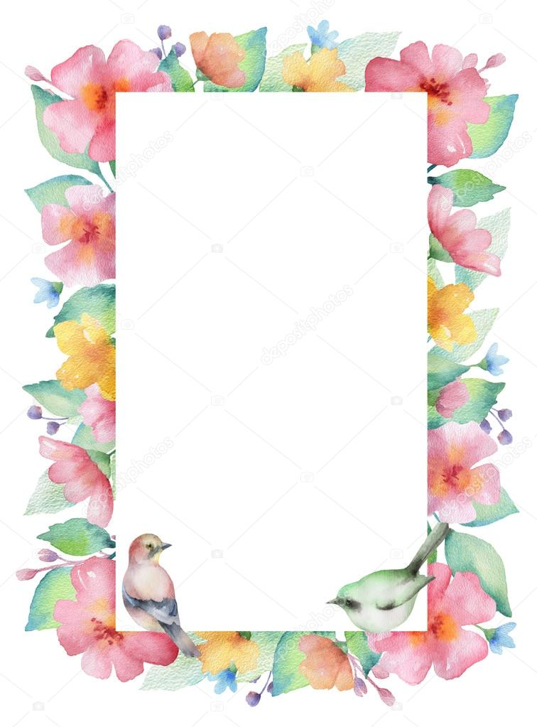 Watercolor rectangular frame.