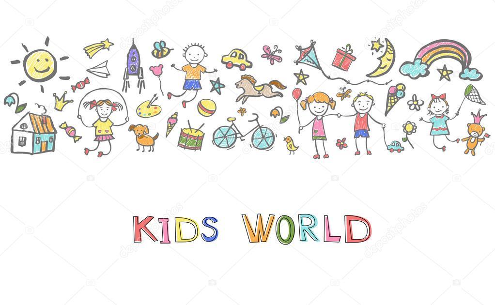 Boceto dibujado a mano en el tema de la infancia — Archivo Imágenes ...