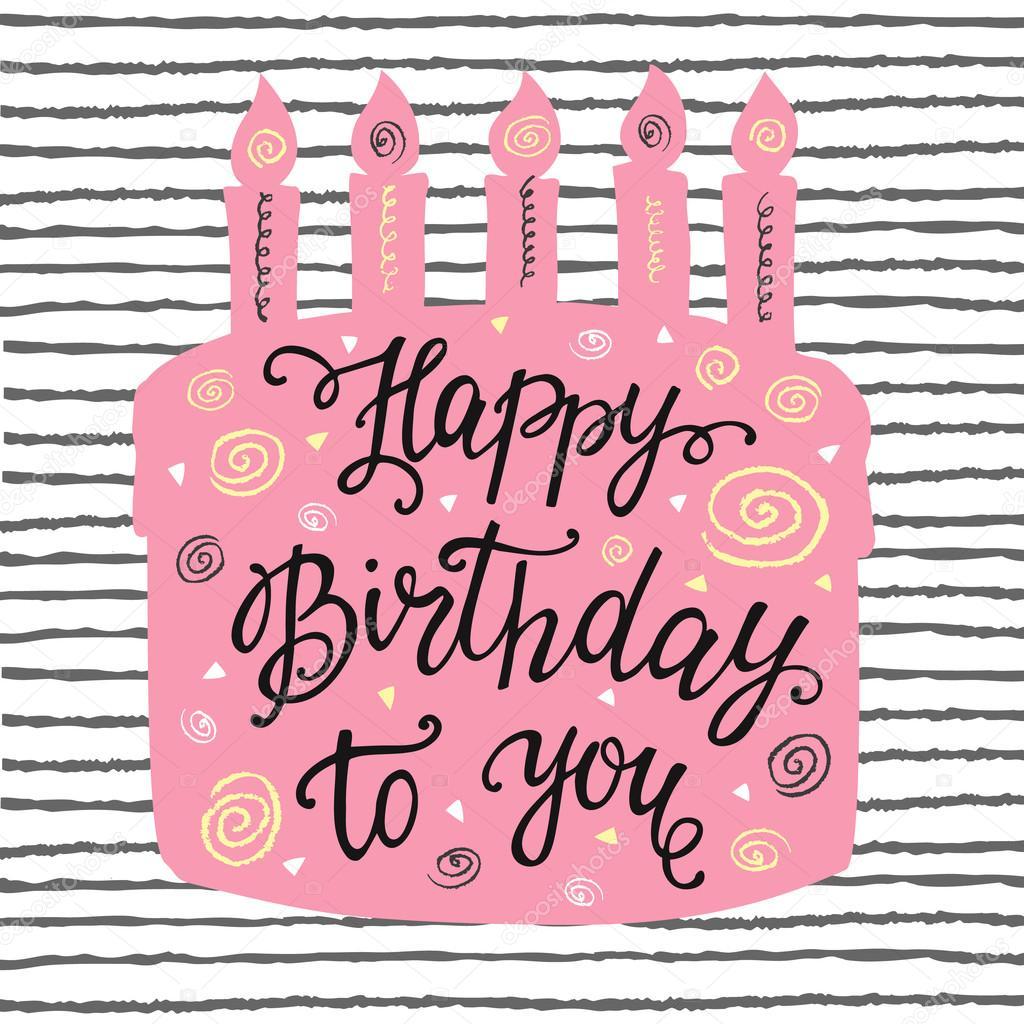 Happy Birthday Hand Beschriftung Und Susse Kuchen Stockvektor