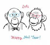 Ručně kreslenou legrační opice v bederní stylu