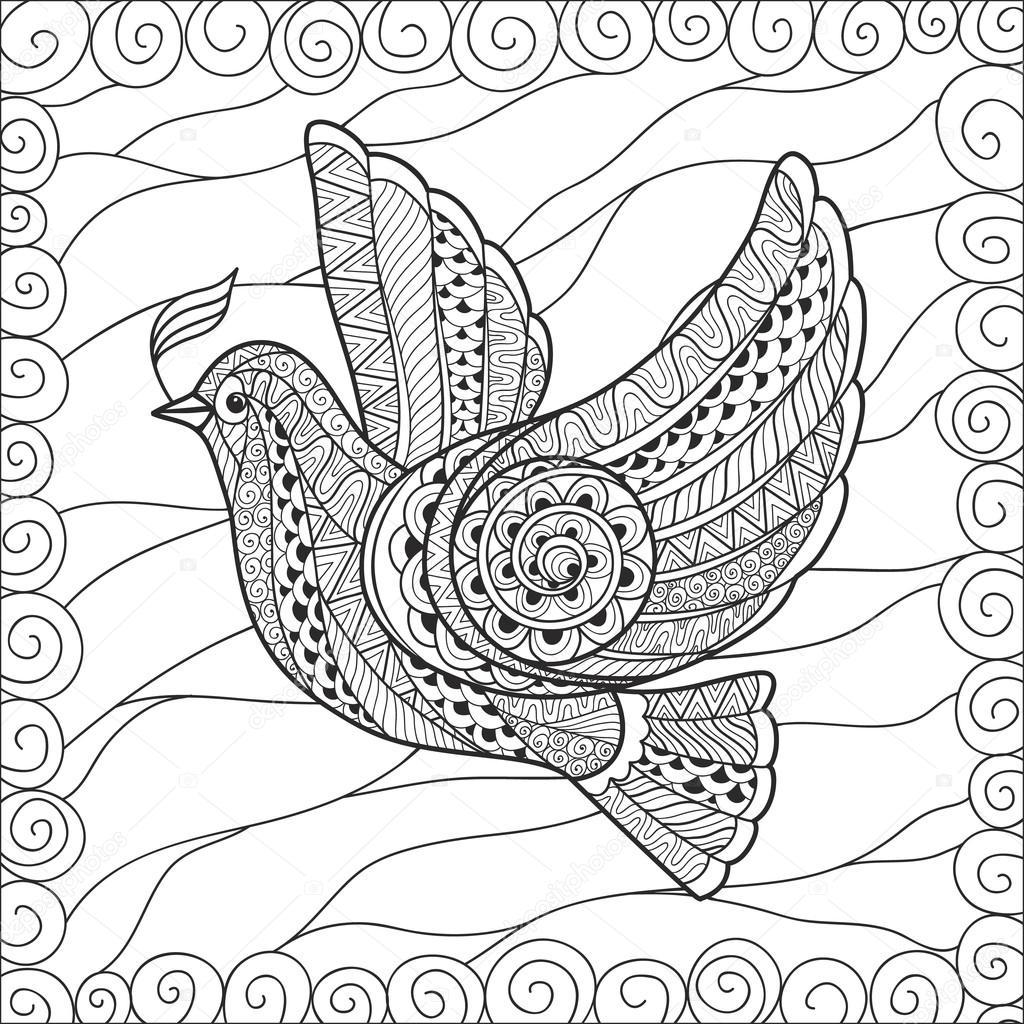 Zentangle Barış Günü Için çiçek Güvercin Stilize Stok Vektör