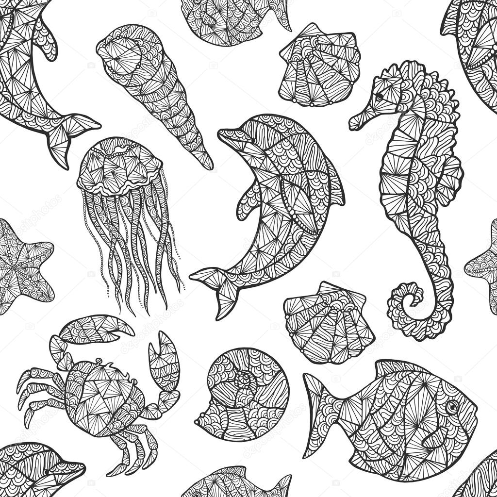 Seamless pattern on the marine theme.