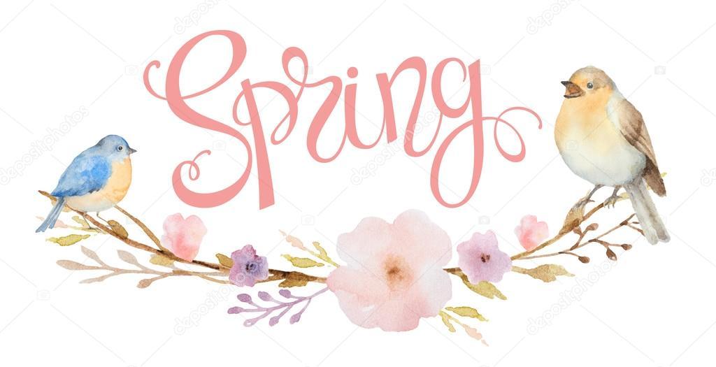Lettering primavera e un mazzo di fiori rami e uccelli - Primavera uccelli primavera colorazione pagine ...
