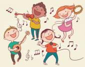 Fotografie Kinder, die Instrumente spielen