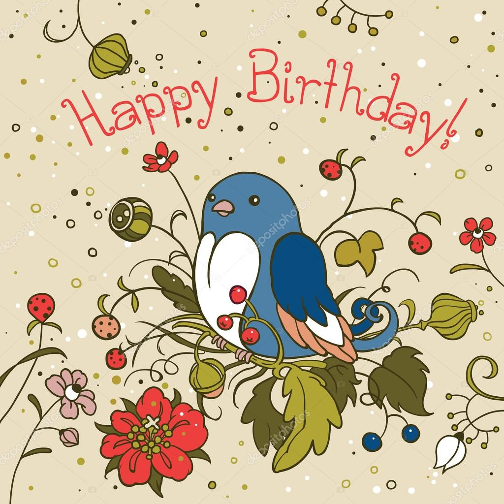 Blue Bird Birthday Card Stock Vector Kimazo 67820583