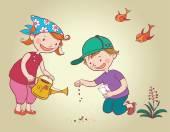 Fotografie Kinder, die Blumen-Saat