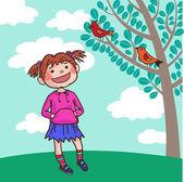 Dívka, poslouchat ptáky