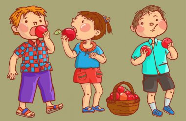 Three Children eating apples. Isolated objects. Children illustration for School books, magazines, advertising and more. Separate Objects. VECTOR. clip art vector