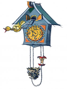 Clock and Yellow Bird
