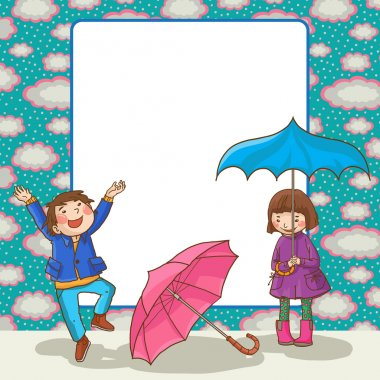 Boy and Girl with umbrella