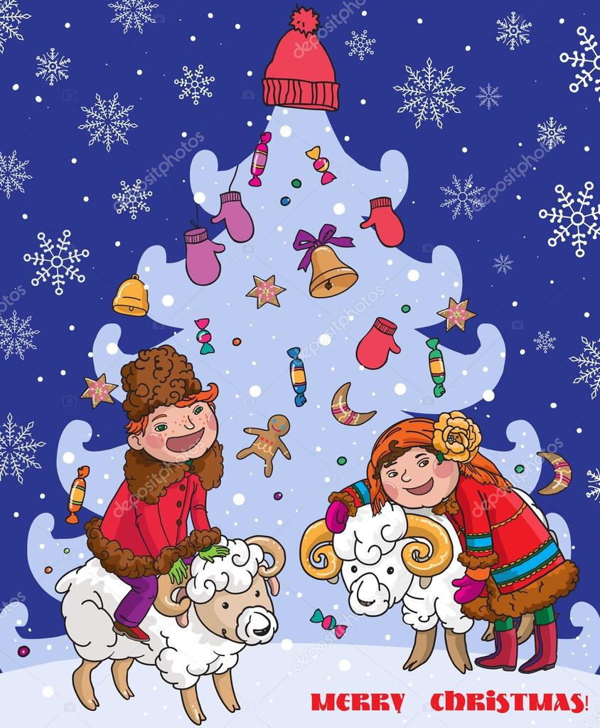 Traditional christmas card stock vector kimazo 69108469 traditional ukrainian or russian christmas card boy and girl beside christmas tree merry christmas children illustration vector vector by kimazo m4hsunfo