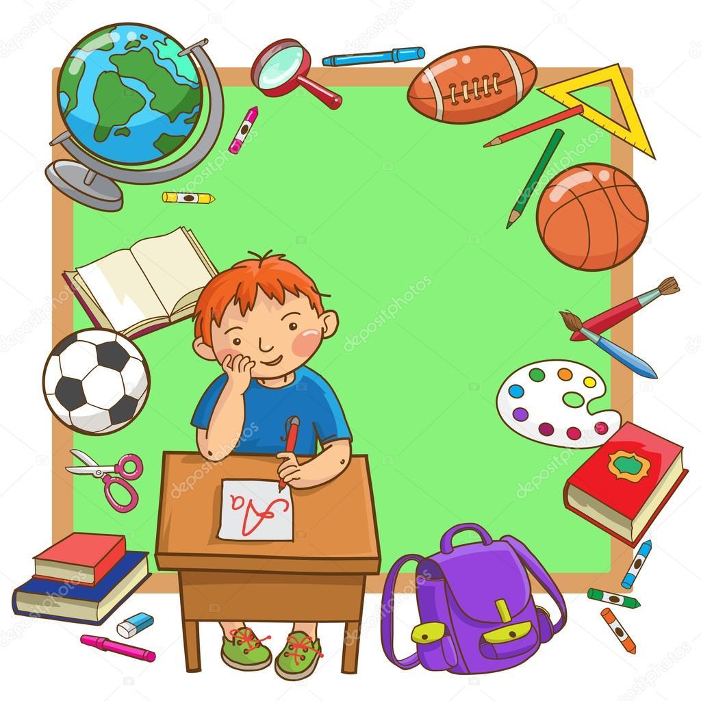 Boy at school desk — Stock Vector © kimazo #69108501