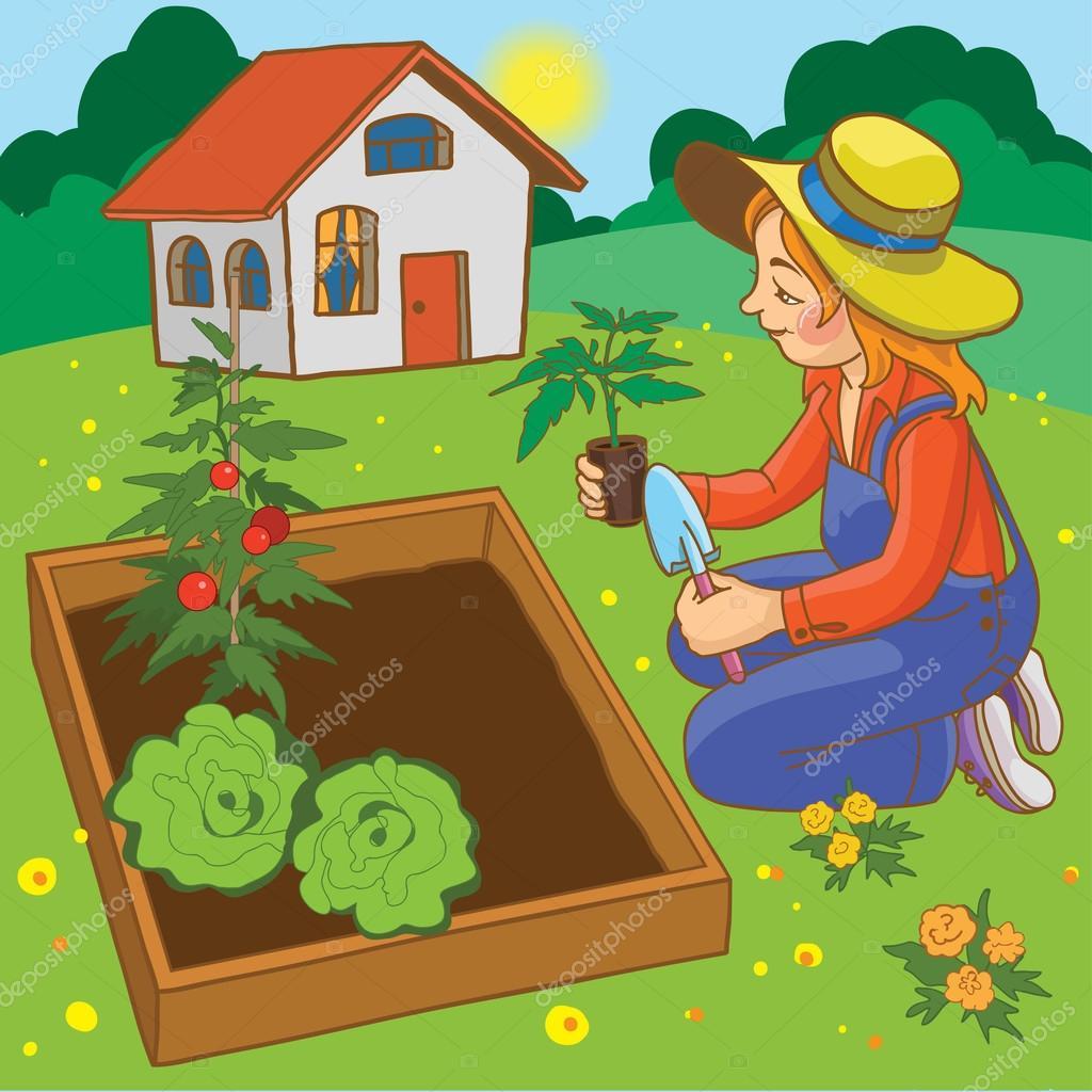 Female working in garden