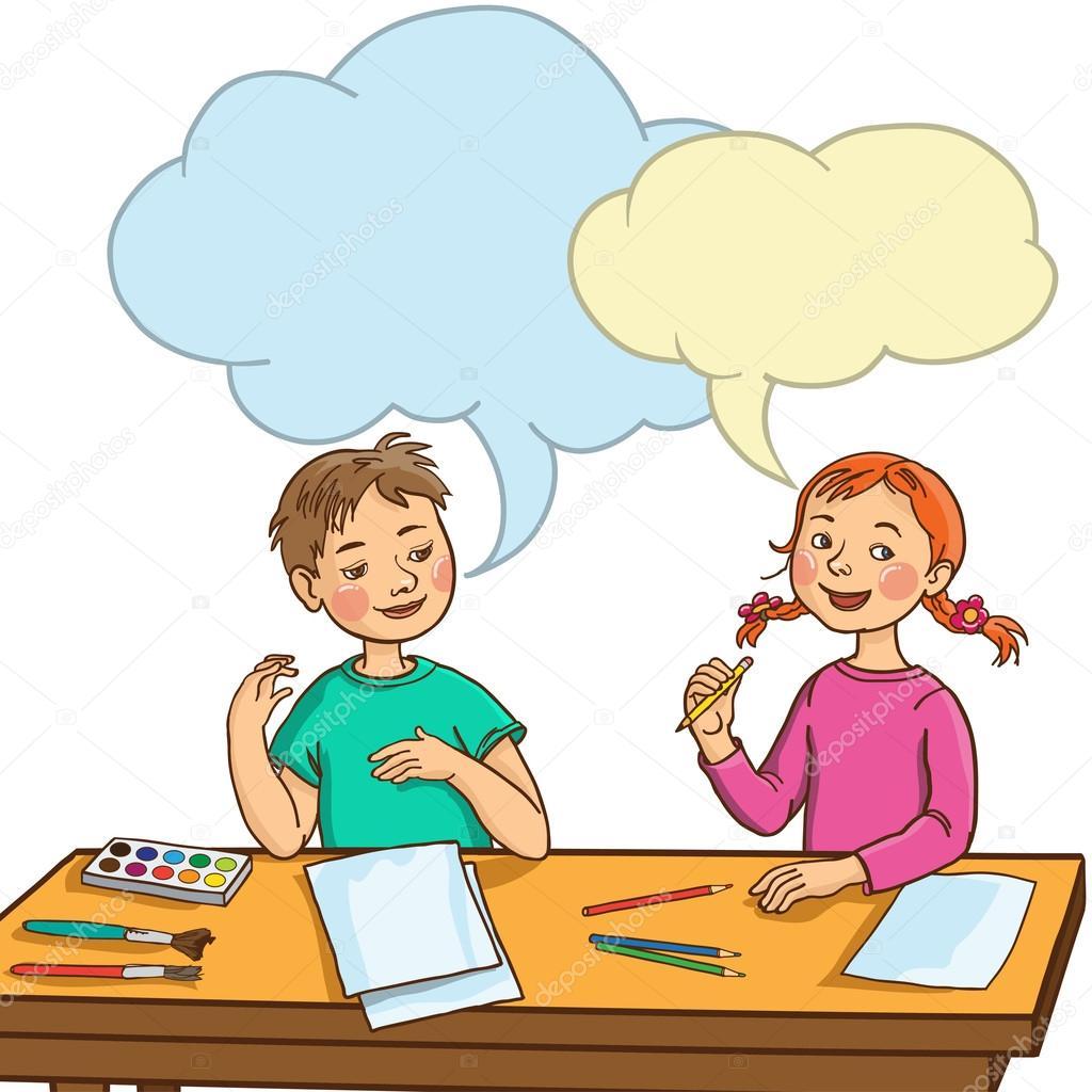 Stock Illustration Kids Talking Together