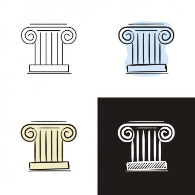 Greek column icons set isolated on white background. Hand-drawn contour icon in doodle style, flat and chalk on a black board. Vector object for history, culture, architecture, antiquity, knowledge and education. icon