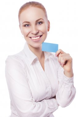 Blonde business woman manager worker smiles and shows a card. isolated on white. copy space stock vector
