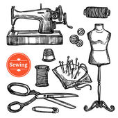 Fotografie Hand Drawn Sketch Sewing Set