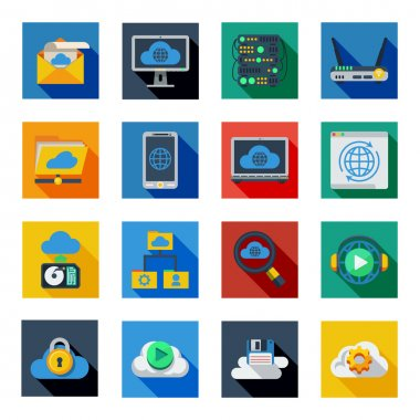 Cloud Service Icons In Colorful Squares