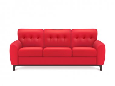 Red Leather Sofa Realistic Illustration