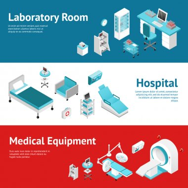 Hospital Medical Equipment Flat Banners Set