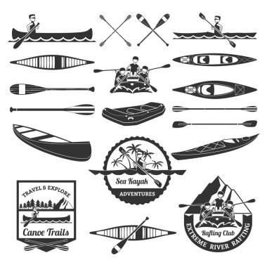 Rafting Canoeing And Kayak Elements Set