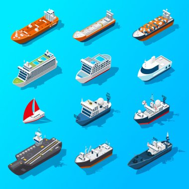 Ships Boats Vessels Isometric Icon Set
