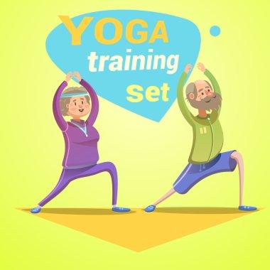 Yoga retro cartoon
